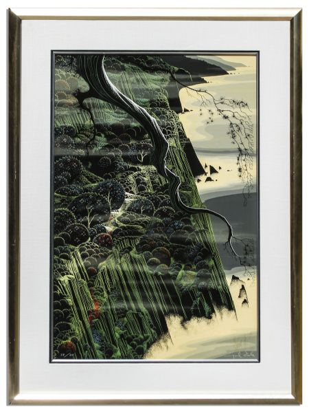 Ray Bradbury Personally Owned Art -- Limited Edition California Coastal Landscape Silkscreen by Eyvind Earle Titled ''From Out of The Sea''