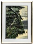 Ray Bradbury Personally Owned Art -- Limited Edition California Coastal Landscape Silkscreen by Eyvind Earle Titled From Out of The Sea