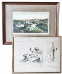 Ray Bradbury Owned Lot of 2 Prints -- Antique Litho of Dublin Scene, Published by Laurie & Whittle, & Gaston Hoffmann Print -- Larger Measures 24 x 18.5 -- Very Good -- COA From Estate