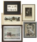 Ray Bradbury Owned Lot of Five 1800s Engravings -- Including an Illman Bros. Piece From Petersons Magazine -- Largest Measures 17.25 x 14.25 -- Very Good Plus -- With COA From Estate
