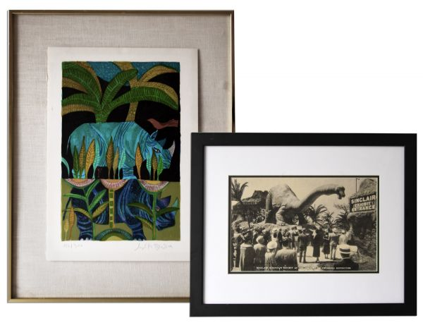 Ray Bradbury Owned Limited Edition Judith Bledsoe Silkscreen, 152 of 300 -- & Framed Print of Dinosaur Exhibit at the 1933 World's Fair -- 22.75'' x 18.5'' -- Near Fine -- COA From Estate
