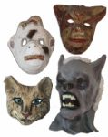 Lot of 4 Costume Masks From Ray Bradburys Collection -- Puma Mask, Hand-Painted Cat & Simian Masks -- And a Rubber Cowl-Style Monster Mask -- With COA From Estate