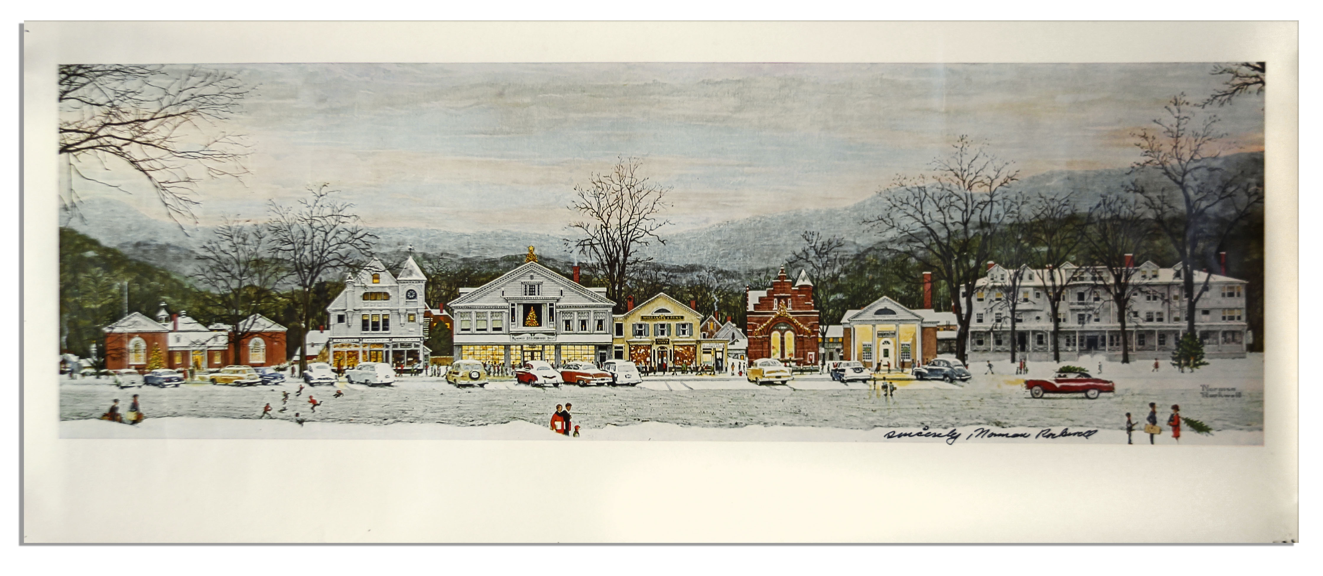 norman rockwell signed print home for christmas stockbridge at main street - Home For Christmas