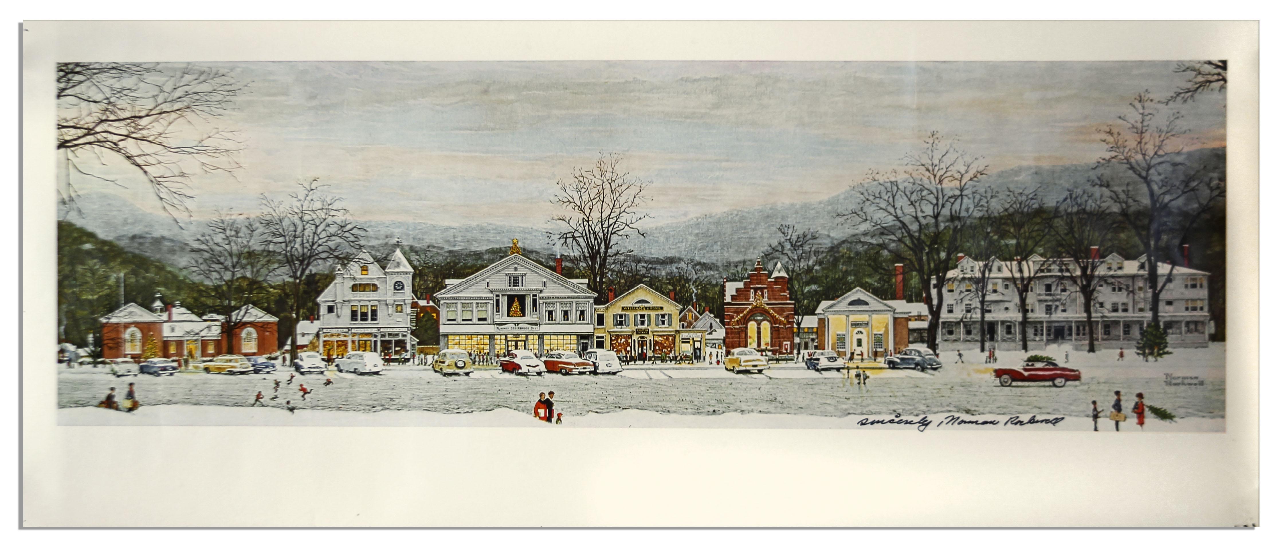 Norman Rockwell Signed Print Home For Christmas Stockbridge At Main Street