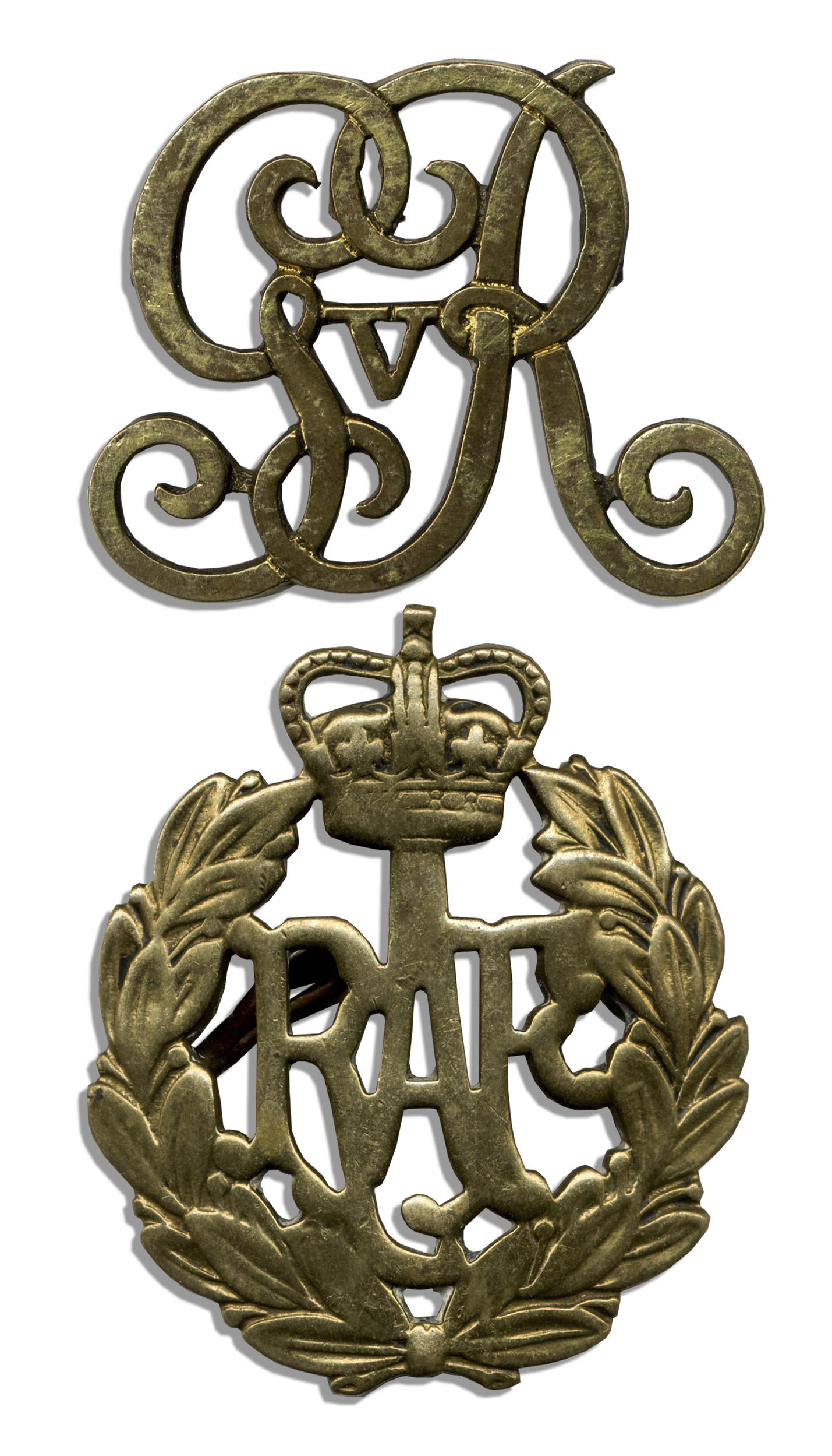 Two Royal British Commemorative Badges -- King George V Cypher & Royal ...: natedsanders.com/lot-32167.aspx