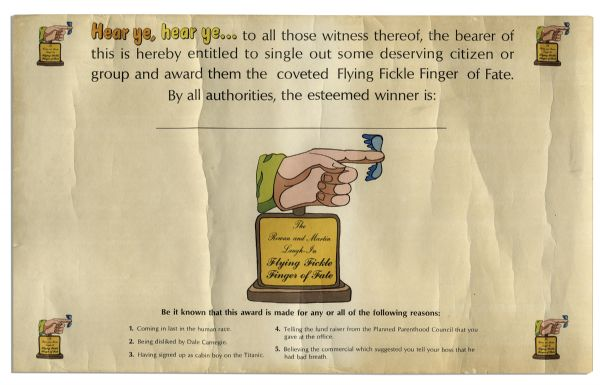 Flying Fickle Finger of Fate Award & Certificate From TV Series ''Rowan & Martin's Laugh-In'' -- Parody Award Given Out to Celebrities & Politicians
