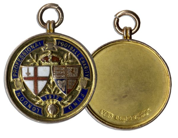 London Football Association Gold Medal Won by Edwin J. Revill of the Queens Park Rangers in 1912 at a Charity Cup