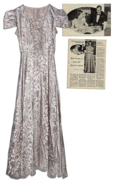 Queen Elizabeth Autograph Gown Worn By Queen Elizabeth II as Princess -- Scarce