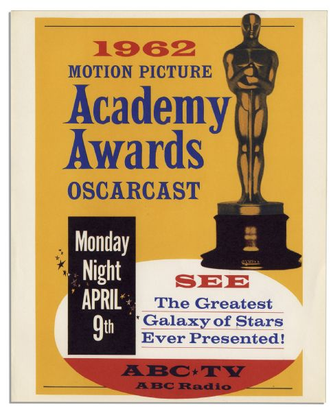 Original 1962 Academy Awards Poster From the 34th Annual Ceremony -- ''Westside Story'' Took Home Best Picture That Year