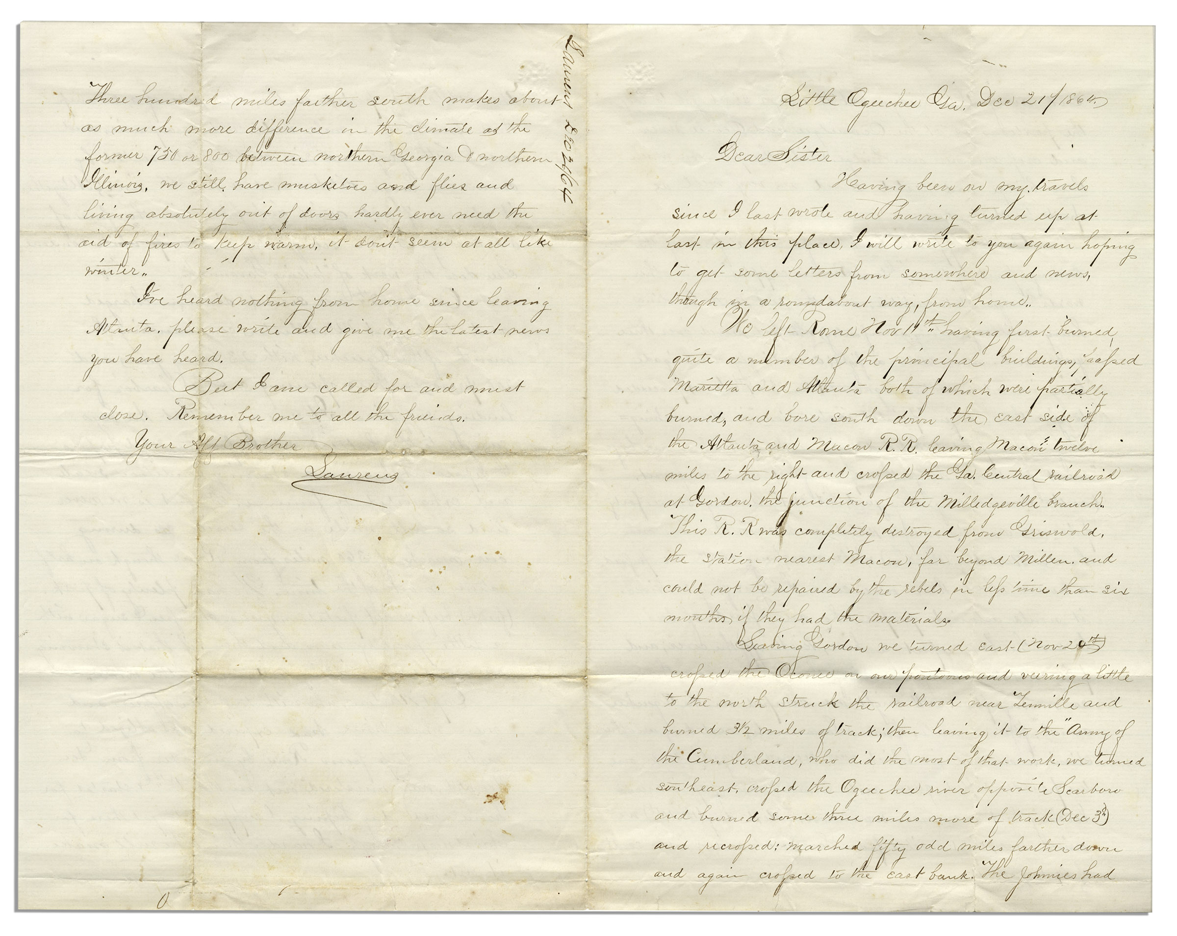 Lot Detail Civil War Letter Chronicling Shermans March