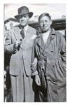 Large Poster Photo of Ray Bradbury as a Young Man Standing With George Burns -- Measures 21.5 x 34 -- Creasing, Else Near Fine -- With COA From Bradbury Estate