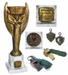 FIFA Jules Rimet World Cup Trophy Bestowed Upon a British Referee in 1950 -- Together With the Referees Game-Used Memorabilia, Including Two Whistles Instrumental to the Final Match