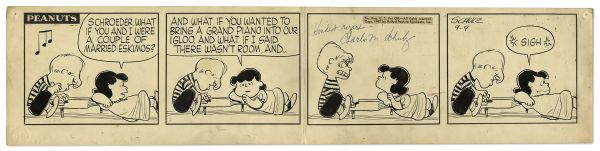 1957 ''Peanuts'' Comic Strip Featuring Schroeder on the Piano & Lucy