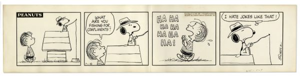''Peanuts'' Comic Strip Featuring Snoopy & Linus from 1973