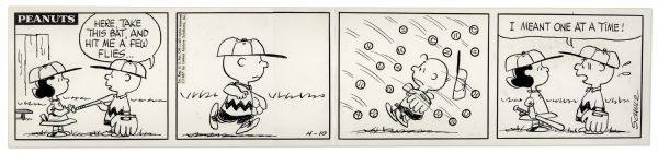 1967 ''Peanuts'' Comic Strip With Baseball Content -- Featuring Charlie Brown & Lucy, Who Pelts Charlie Brown With Baseballs