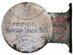Rare 1909 Double-Sided Metal Sign Advertising the Debut of the Patented Reach Sporting Goods American League Baseball