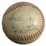 Babe Ruth Signed Baseball -- Sincerely / Babe Ruth -- With JSA LOA