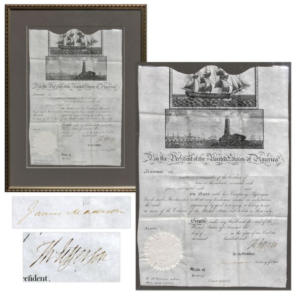 Thomas Jefferson Ship's Paper Signed as President -- Countersigned by James Madison as Secretary of State -- Rare