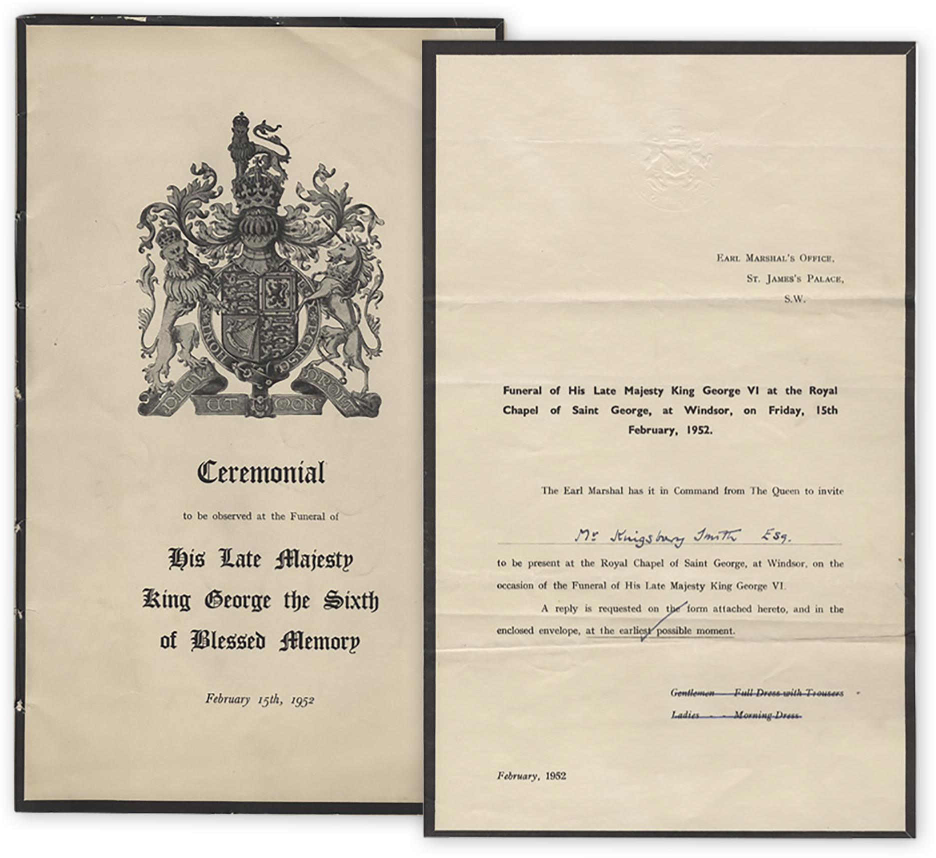Lot Of Ceremonial Material From The Funeral Of King George VI In 1952     Includes ...  Invitation For Funeral
