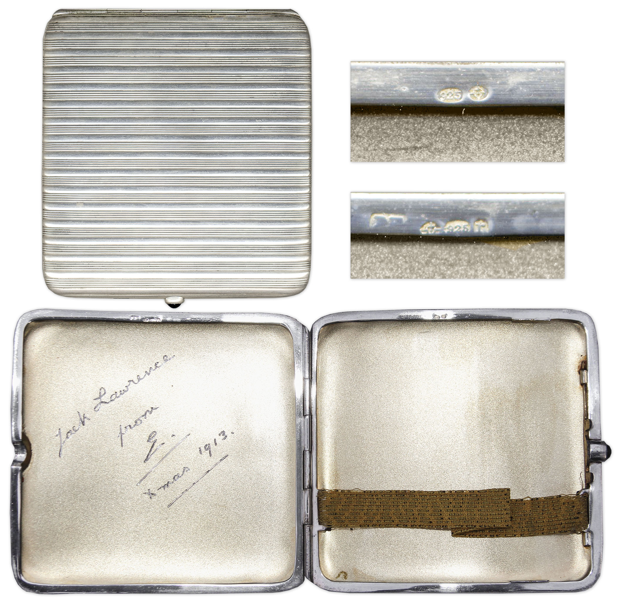 King Edward Memorabilia Prince Edward VIII Silver Cigarette Case -- Given to a Friend in 1913, With Engraving in Edward's Hand