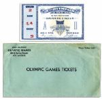 Ticket and Envelope for the 1932 Los Angeles Olympic Games -- Admission to Swimming Events in Which U.S. Swimmer Won Three Gold Medals