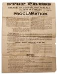1922 Irish Civil War Broadside Issued by the IRA -- Beware of Black and Tans -- With a Statement by Eamon de Valera