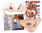 Brande Roderick Lingerie Signed & Worn in Her Playboy Centerfold Shoot as Playmate of The Year -- With Signed Magazine, 8 x 10 Photo, and Polaroids From the Shoot