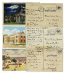 Trio of Postcards Handwritten & Signed by Iwo Jima Hero Rene Gagnon in 1944 -- Theres still no place like home...