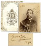 King George V Cabinet Photo Signed as the 26 Year-Old Prince of Wales -- George / 1891