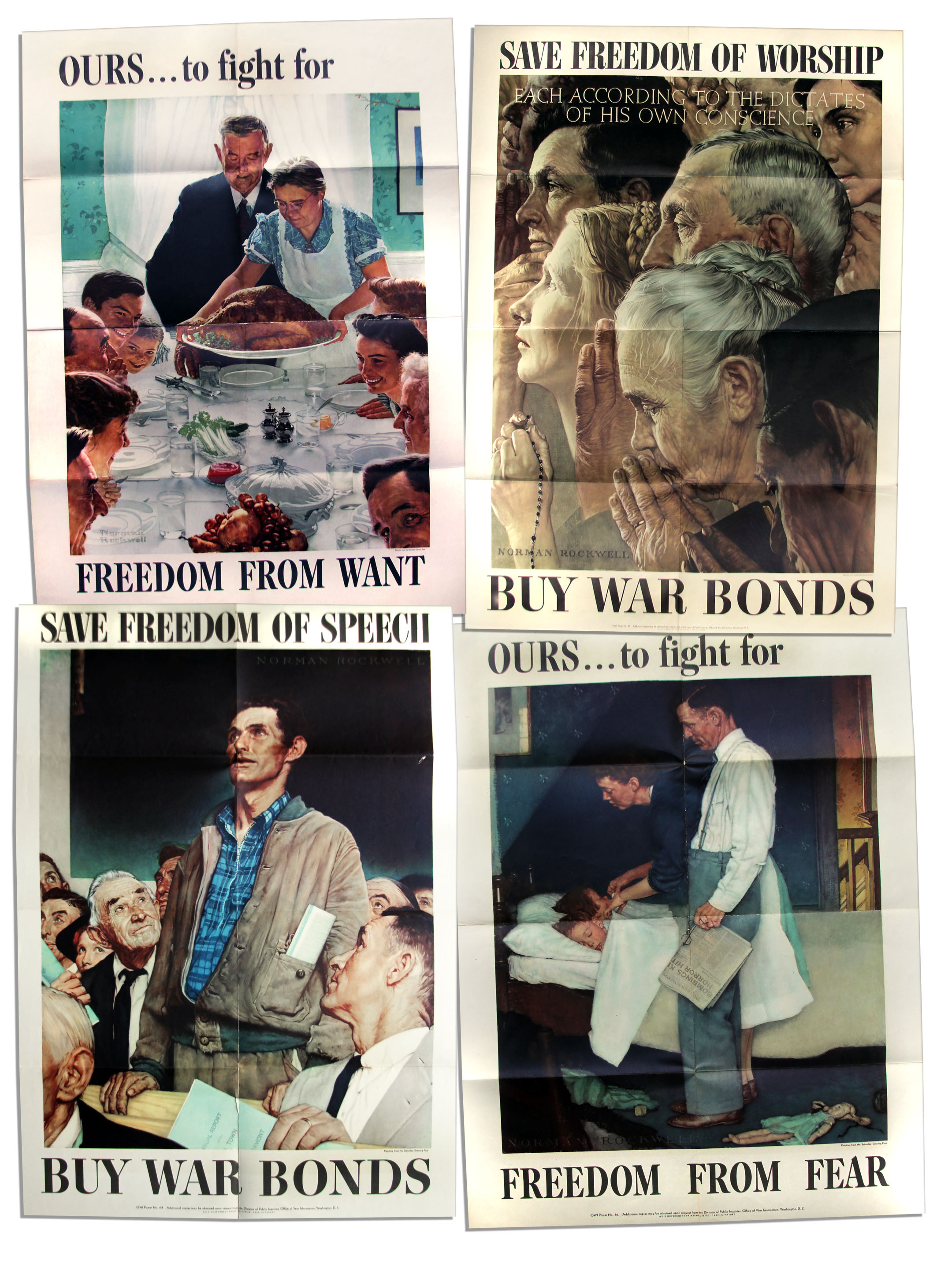 Lot Detail - Norman Rockwell's Original 1943 ''Four Freedoms ...