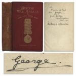 Rare King George V Signed Copy of War Medals of the British Army -- Inscribed to Prince Francis of Teck