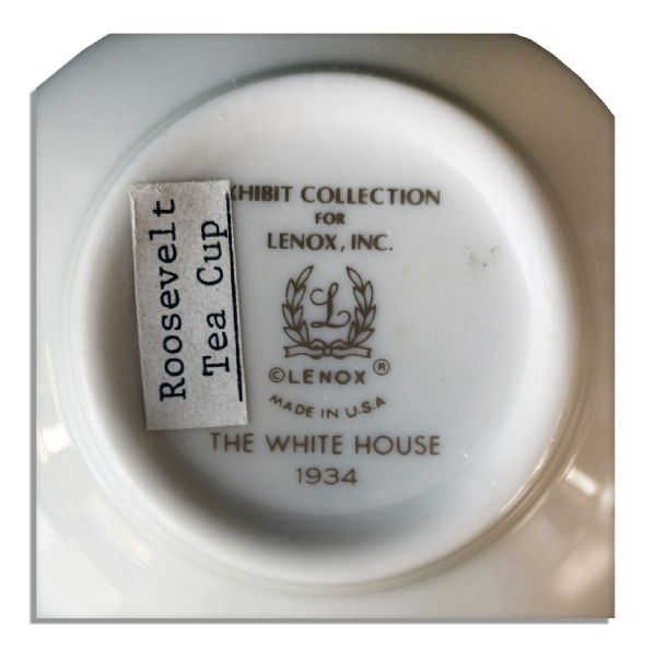 Franklin D. Roosevelt White House Exhibit China -- Cup & Saucer by Lenox -- Fine