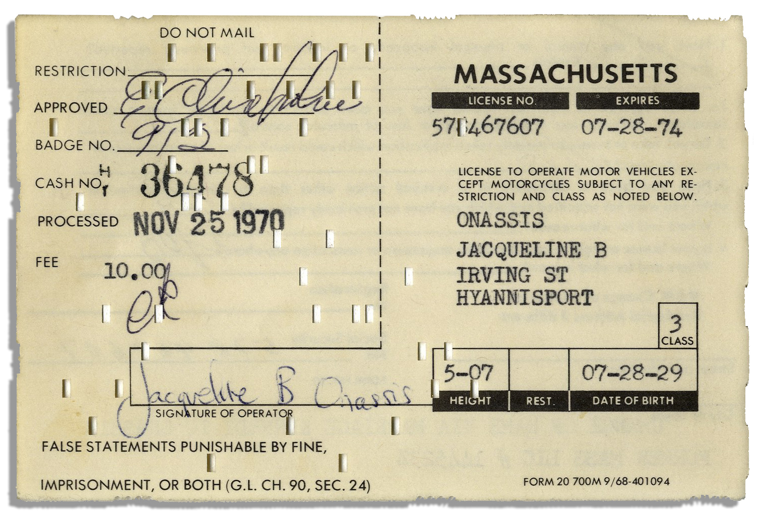lot detail driver license application signed filled out by driver license application signed filled out by jackie kennedy onassis when she remarried took