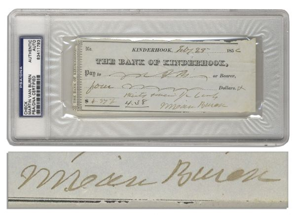 President Signed Checks Martin Van Buren Signed Check -- With PSA/DNA COA & Encapsulation