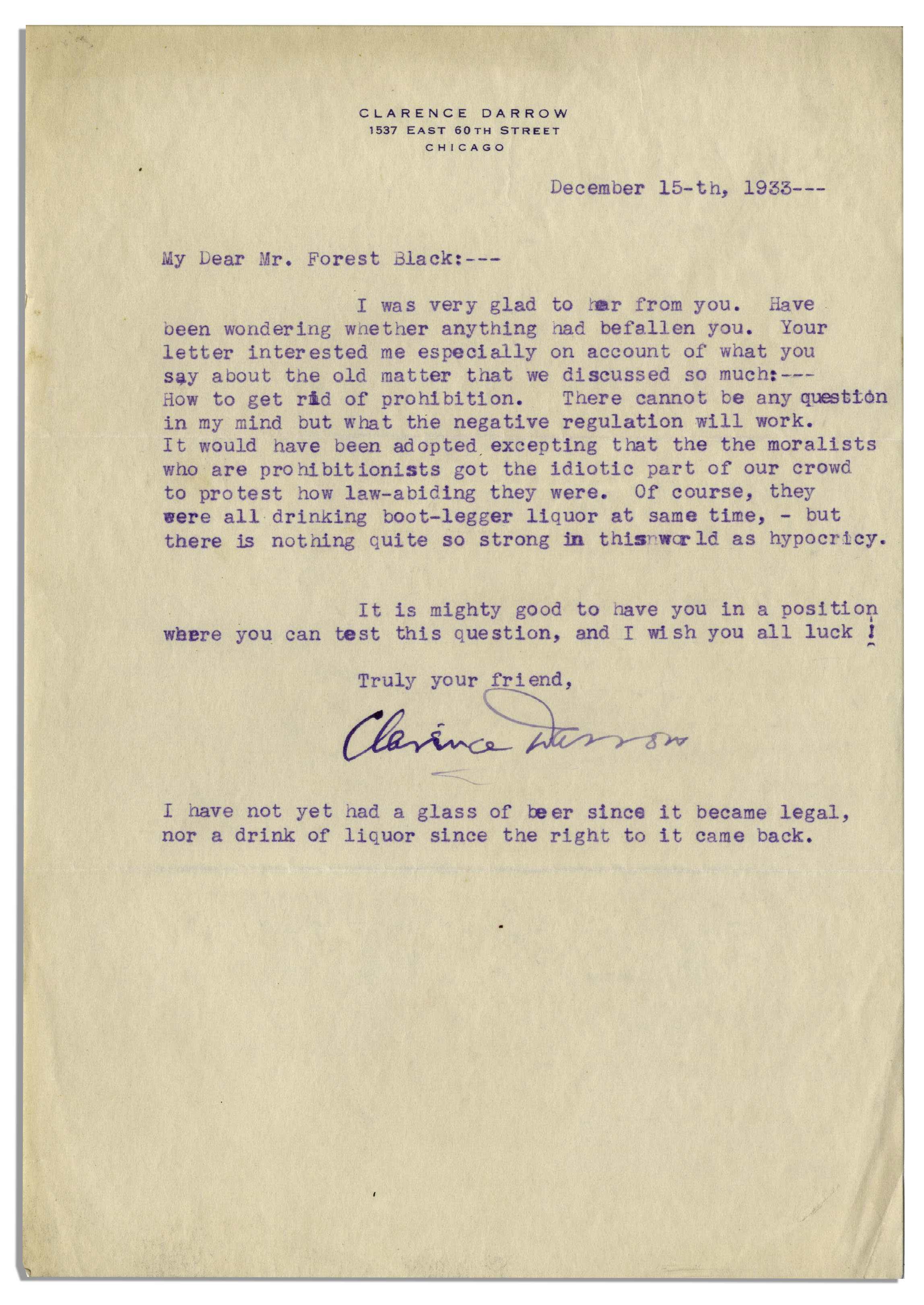 Lot Detail  Clarence Darrow Typed Letter Signed Regarding The End