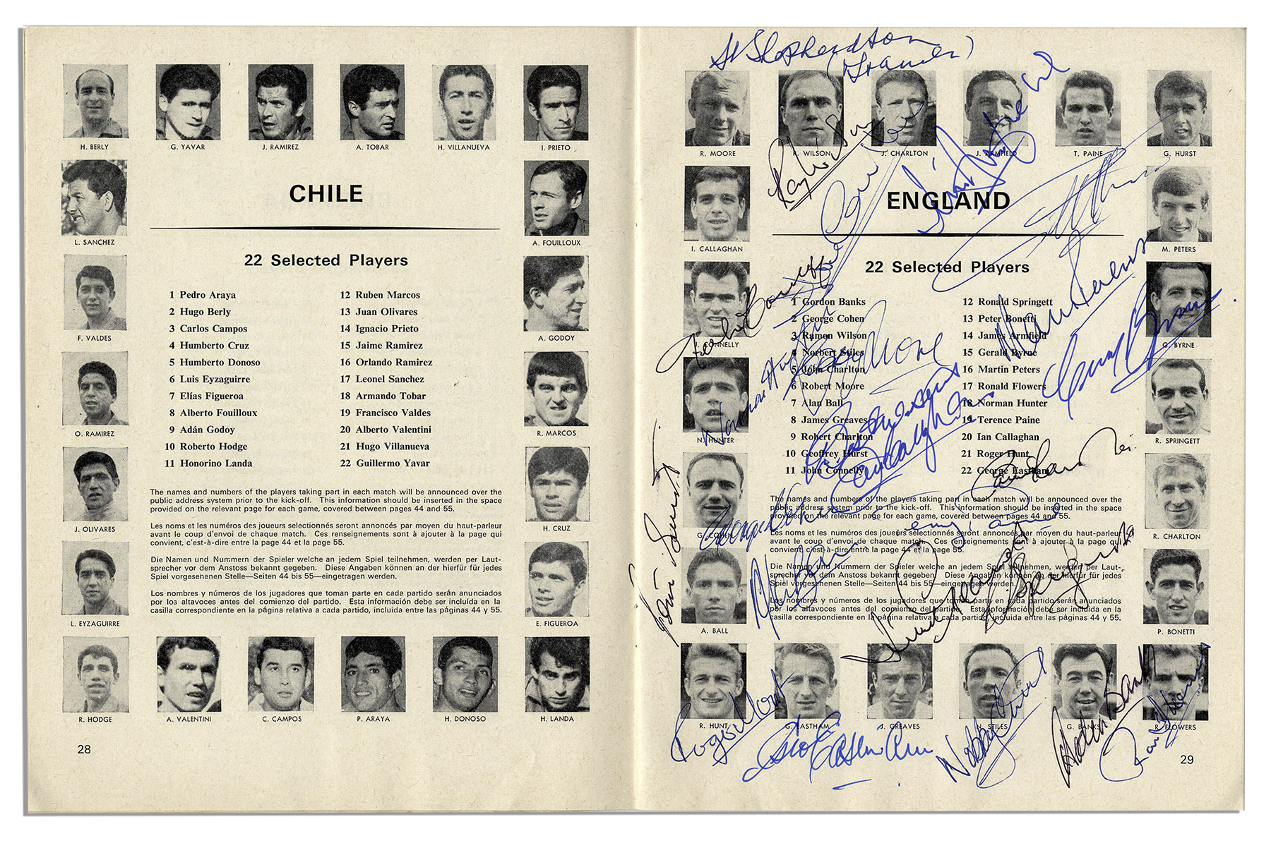 1966 FIFA World Cup Program Signed By Its Champions The England Squad With