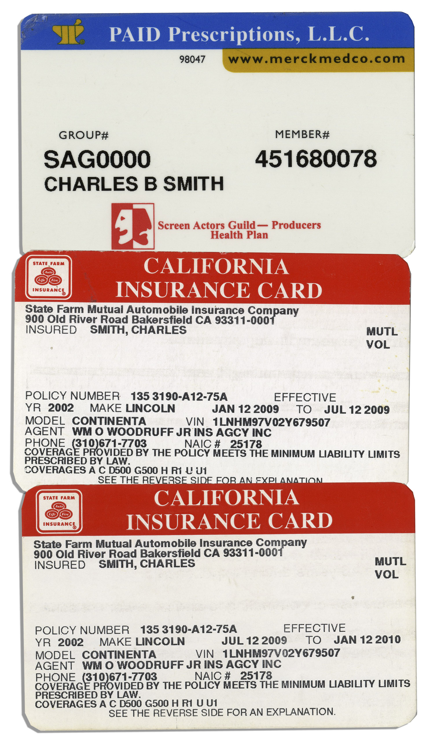 Lot Detail - Lot of 3 Insurance Cards Belonging to Charles ''Bubba ...