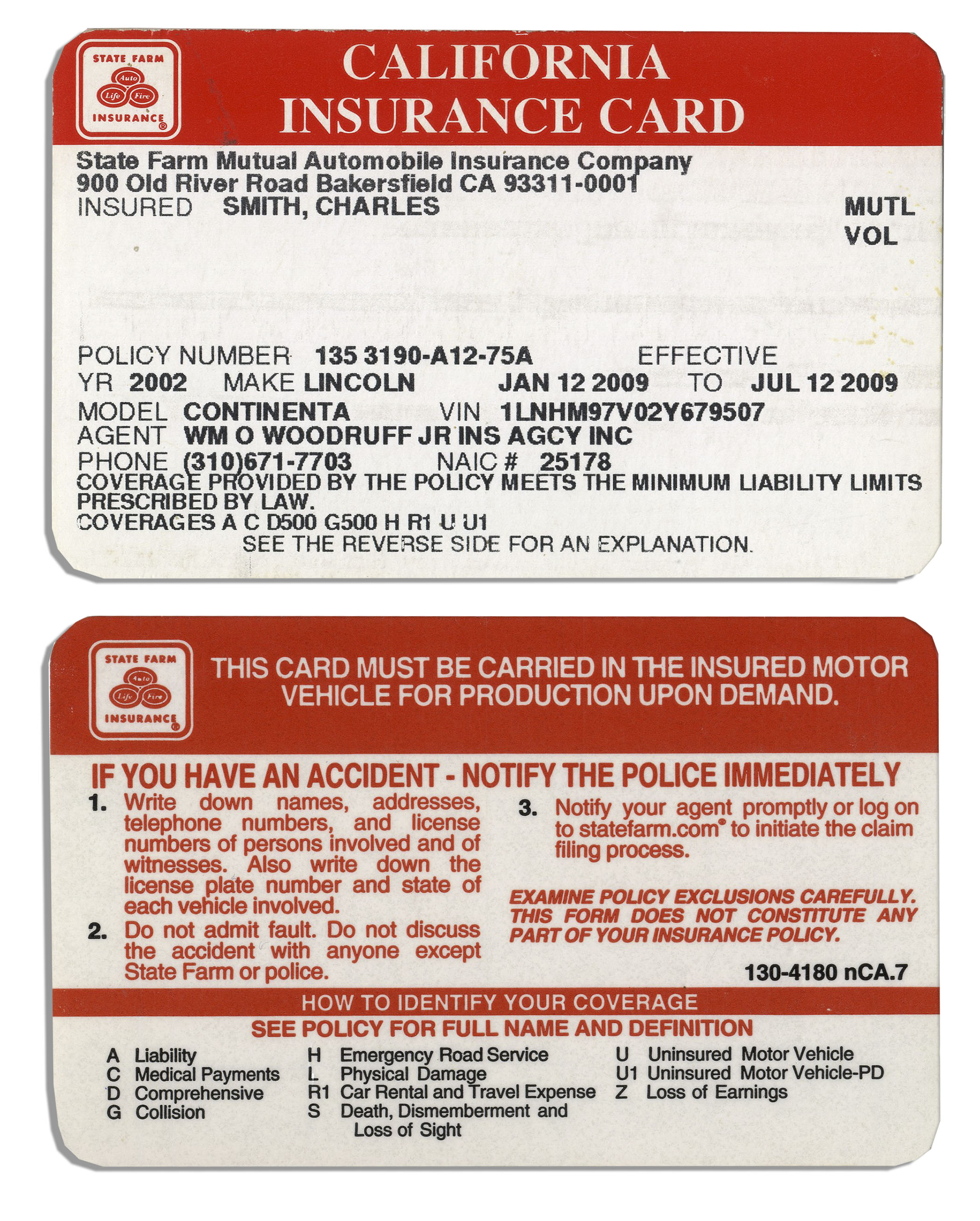 Lot Detail - Lot of 3 Insurance Cards Belonging to Charles ...