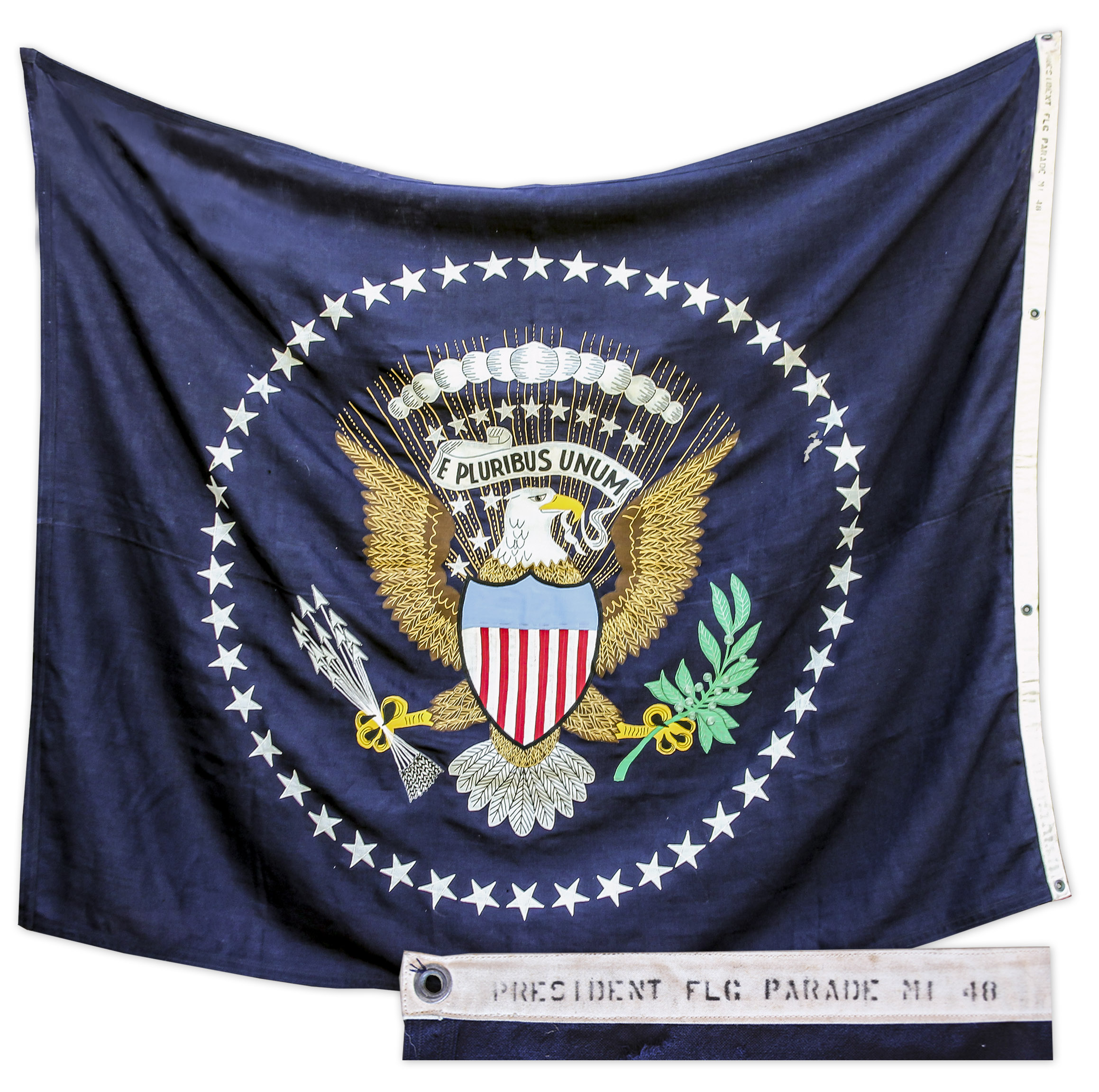 Harry Truman Memorabilia Presidential Flag From the Truman Administration Used for Presidential Parades in 1948 -- Grand Cloth Flag in Full Color Measures 75'' x 59''