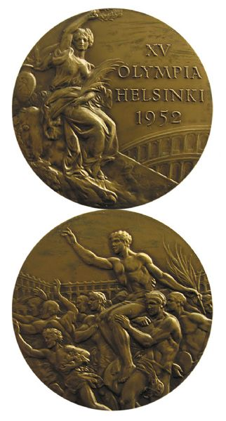 Bronze Medal From the 1952 Summer Olympics, Held in Helsinki, Finland -- Won by a Member of the Finnish Gymnastic Team