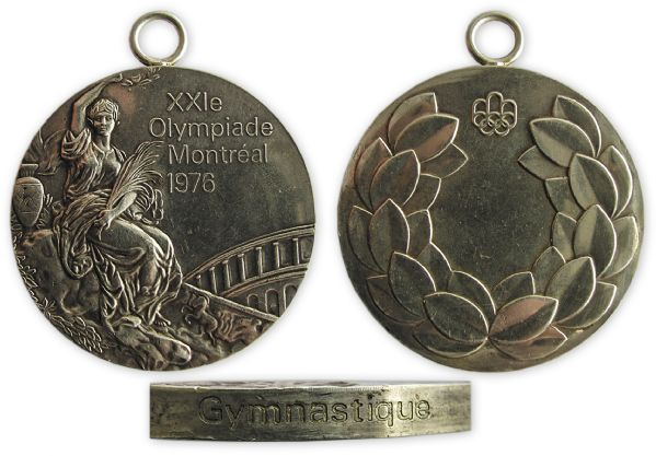 Silver Gymnastics Medal From the 1976 Summer Olympics -- Won by Member of The USSR Gymnastics Team