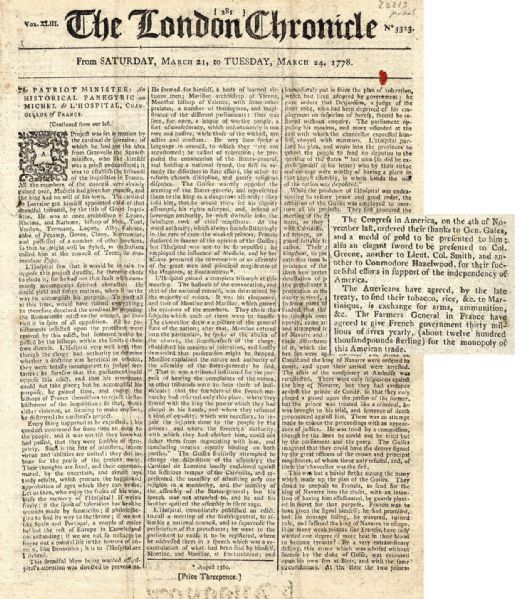 1778 London Chronicle Regarding the Battle of Saratoga & the American Revolution