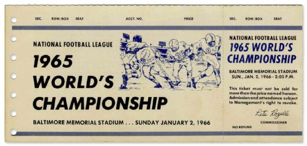 Baltimore Colts Unused Ticket for the Never Played ''1965 World's Championship'' Game