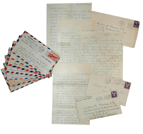 Lot of 15 WWII Letters to a Seaman Aboard U.S.S. Markab -- ''...The war is over with Germany, May 8th was V.E. day...''
