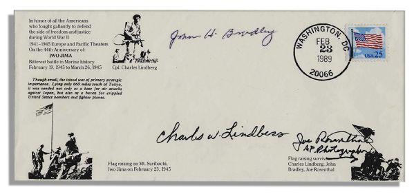 Iwo Jima's 44th Anniversary First Day Cover -- Signed by Joe Rosenthal, John Bradley & Charles Lindberg