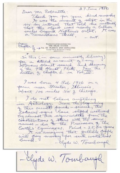 Astronomer Clyde Tombaugh Autograph Letter Twice-Signed -- ''...I do not believe anything in Astrology...gullible people will pay money for such worthless bunk...''