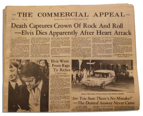 Elvis Presley Death Newspaper From Hometown Memphis -- Special Edition Following His 16 August 1977 Death -- ''...Death Captures Crown of Rock and Roll...''