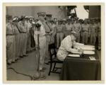 4 September 1945 AP Press Photo of General Douglas MacArthur Signing the Japanese Surrender Papers -- 9 x 7 -- Very Good