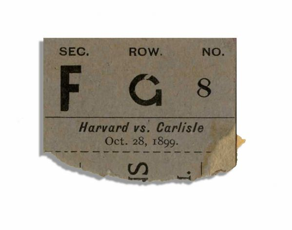 Rare 1899 Ticket Stub From a Harvard Versus Carlisle Football Game -- The First Year Carlisle Was Coached by ''Pop'' Warner