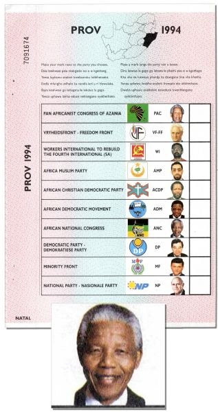 Historic 1994 South African Ballot -- The Election Brought Nelson Mandela to Presidency and Ended Apartheid -- Fine